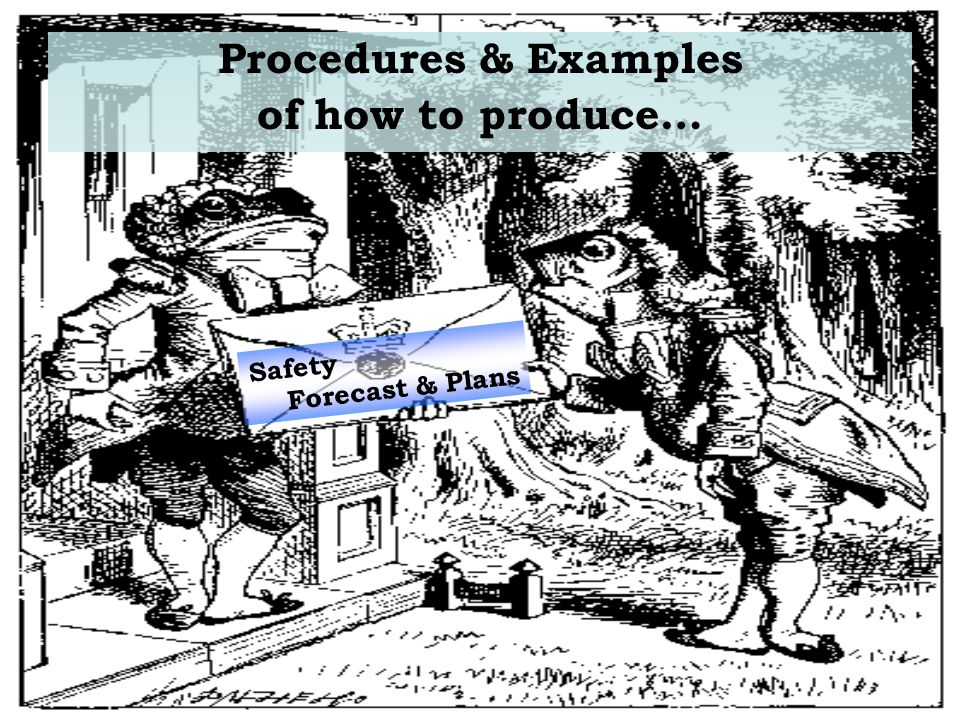 Procedures & Examples of how to produce… Safety Forecast & Plans