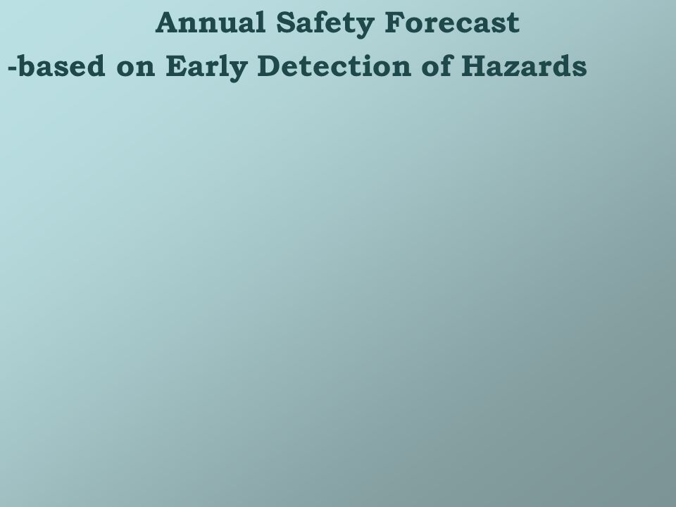 Annual Safety Forecast -based on Early Detection of Hazards