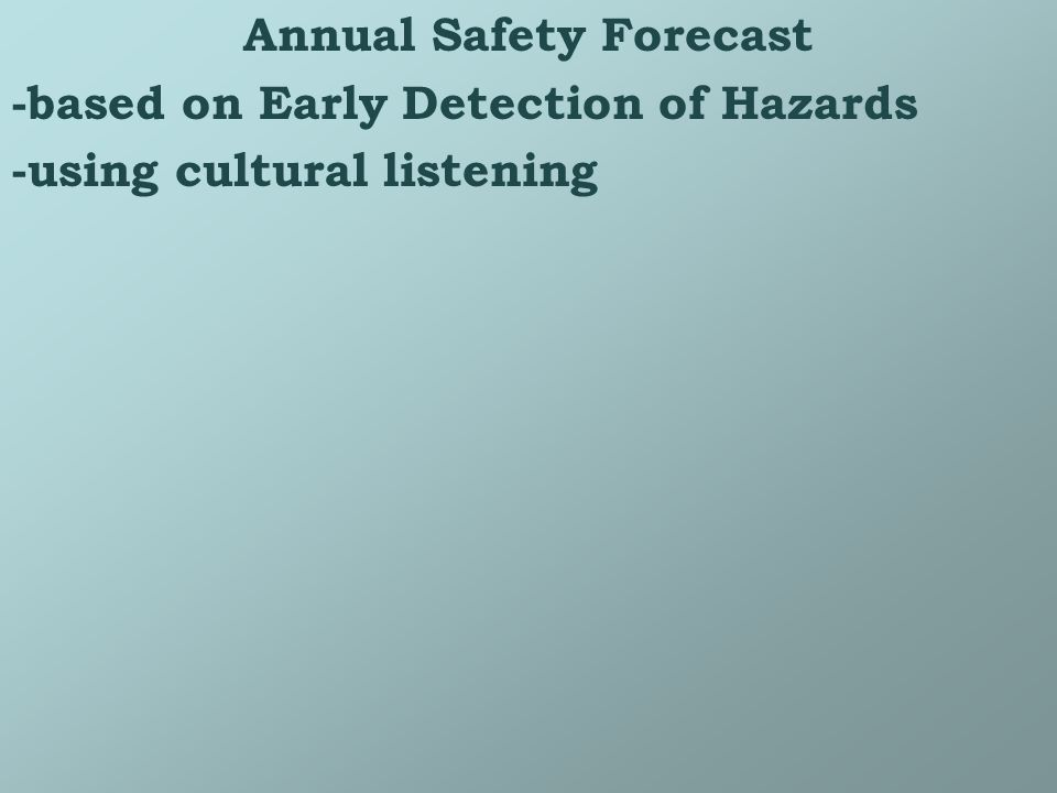 Annual Safety Forecast -based on Early Detection of Hazards -using cultural listening