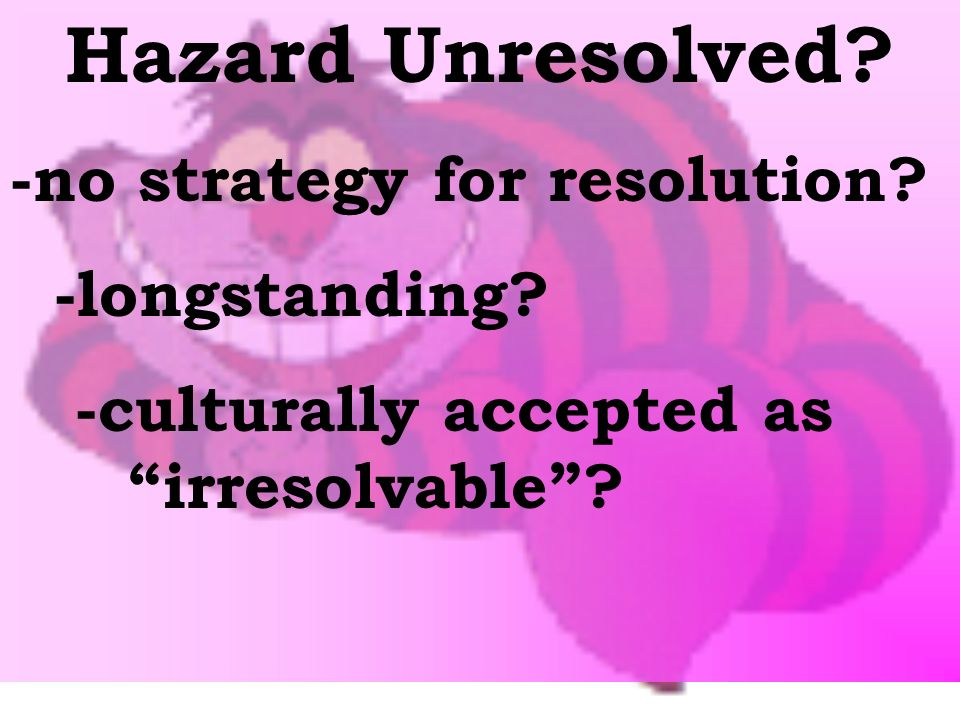 Hazard Unresolved. -no strategy for resolution. -longstanding.
