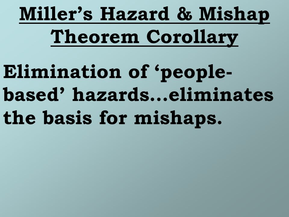 Millers Hazard & Mishap Theorem Corollary Elimination of people- based hazards…eliminates the basis for mishaps.