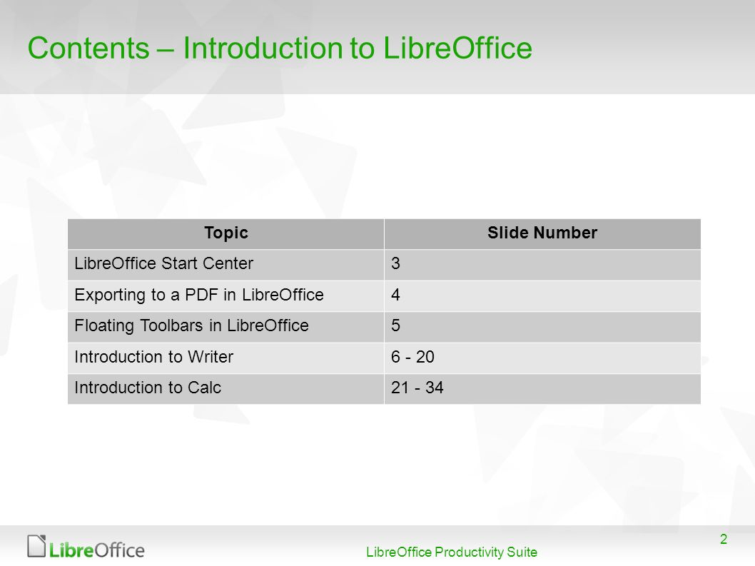 2 LibreOffice Productivity Suite Contents – Introduction to LibreOffice TopicSlide Number LibreOffice Start Center3 Exporting to a PDF in LibreOffice4 Floating Toolbars in LibreOffice5 Introduction to Writer6 - 20 Introduction to Calc21 - 34