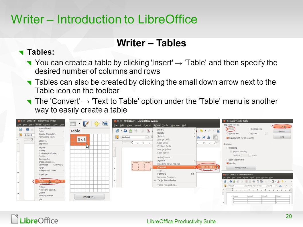20 LibreOffice Productivity Suite Writer – Introduction to LibreOffice Tables: You can create a table by clicking 'Insert' 'Table' and then specify th