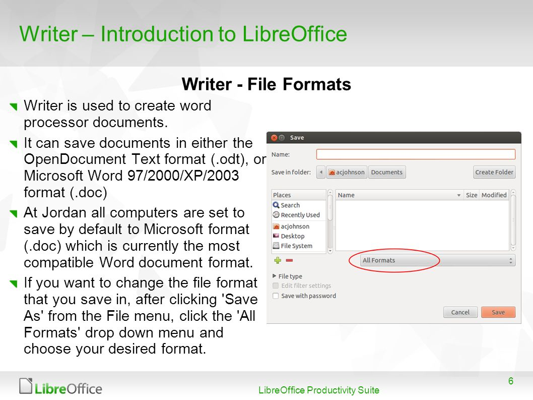 6 LibreOffice Productivity Suite Writer – Introduction to LibreOffice Writer is used to create word processor documents.