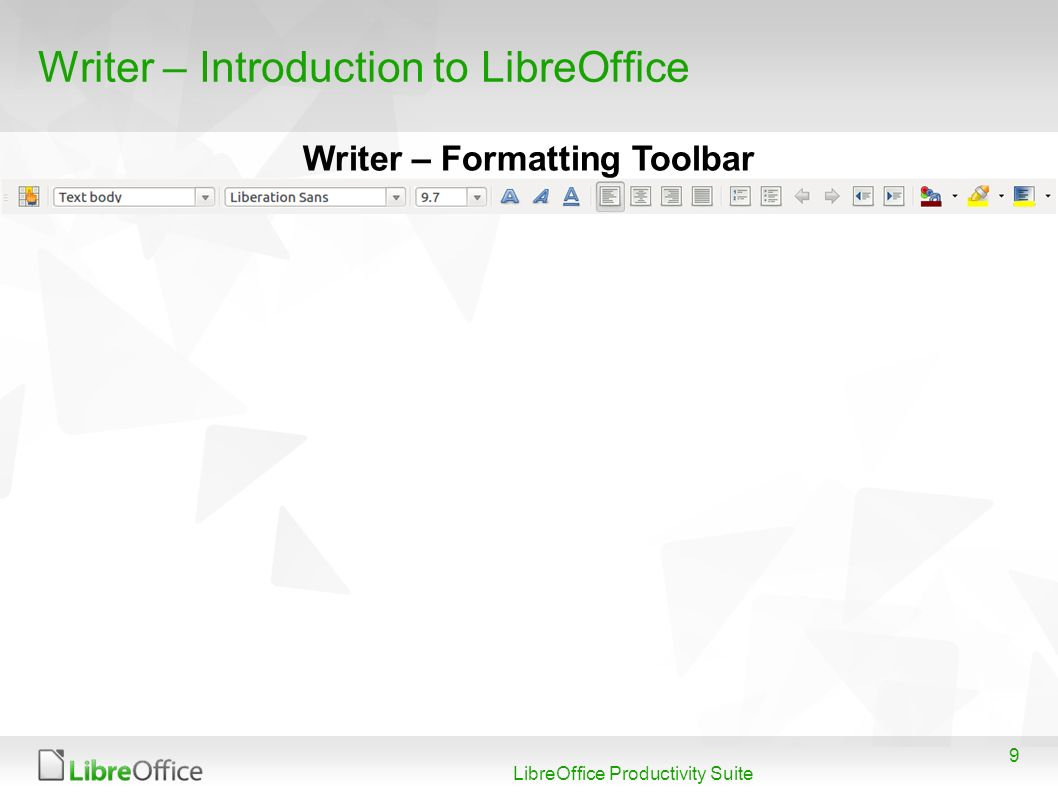 9 LibreOffice Productivity Suite Writer – Introduction to LibreOffice Writer – Formatting Toolbar