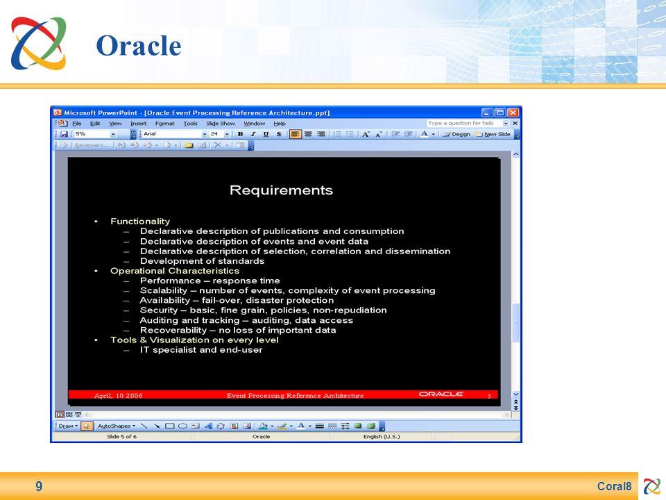 Coral8 9 Oracle