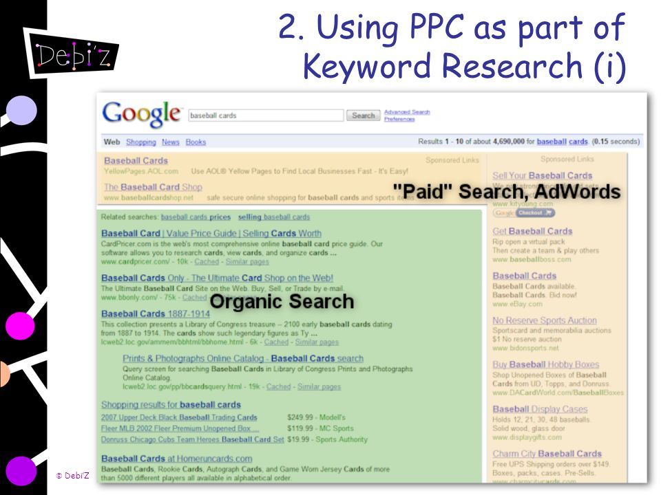 DebiZ Consulting Ltd. 2008 6 2. Using PPC as part of Keyword Research (i)