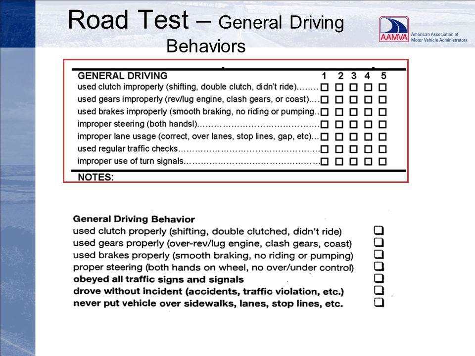 Road Test – General Driving Behaviors