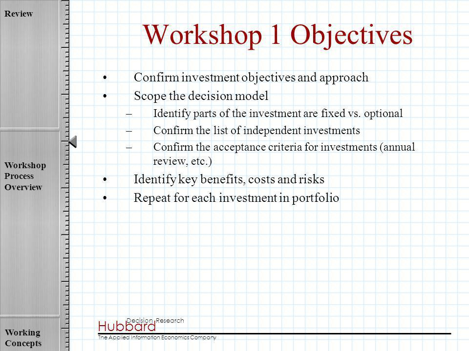 Hubbard Decision Research The Applied Information Economics Company Review Workshop Process Overview Working Concepts Workshop 1 Objectives Confirm in