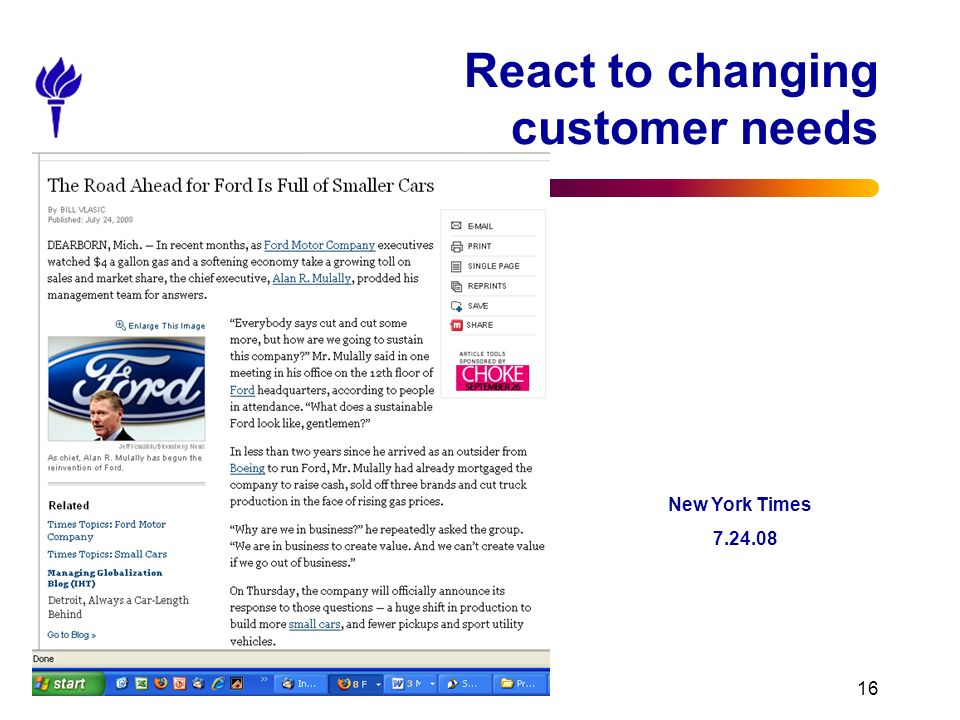 Session 1 - Introduction 16 React to changing customer needs New York Times 7.24.08