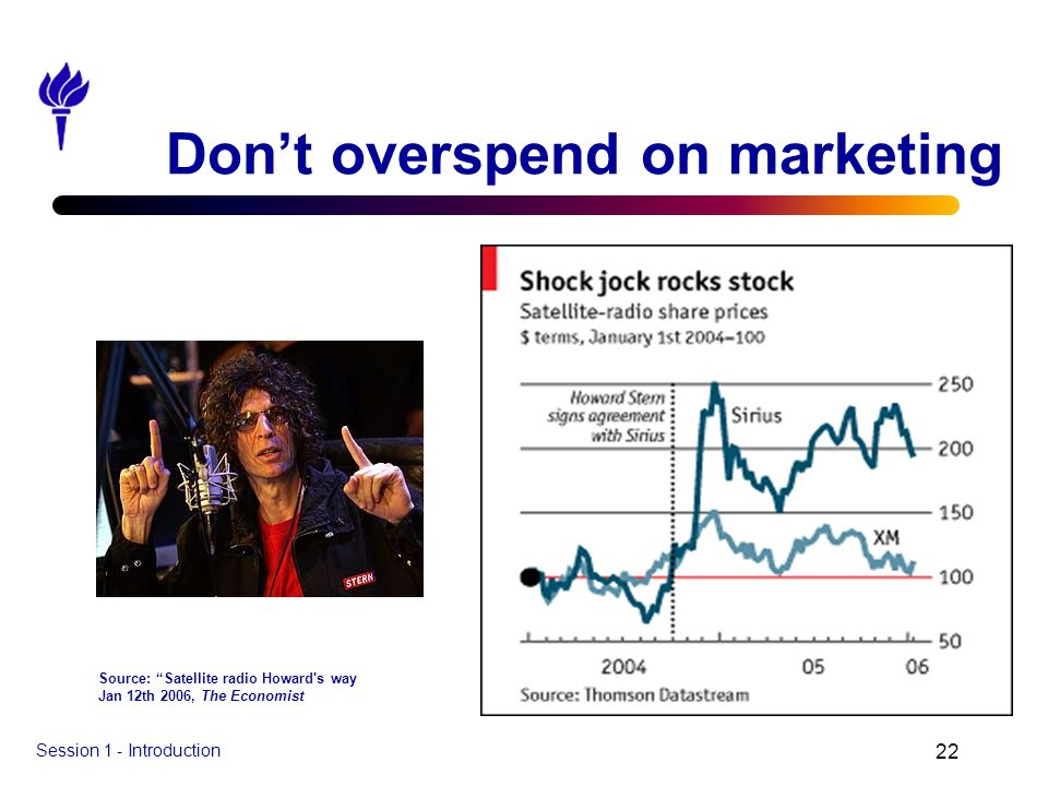 Session 1 - Introduction 22 Dont overspend on marketing Source: Satellite radio Howard's way Jan 12th 2006, The Economist