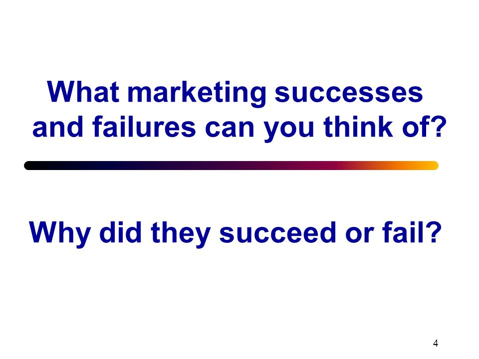 4 What marketing successes and failures can you think of? Why did they succeed or fail?