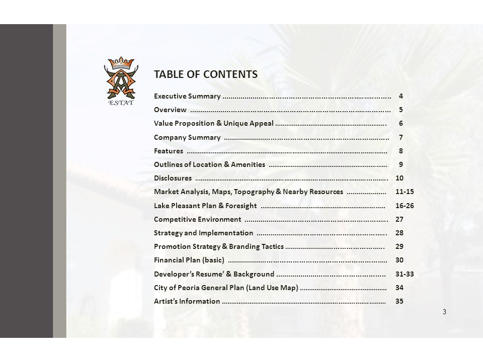 3 TABLE OF CONTENTS Executive Summary...............................................................….….......... 4 Overview..........................