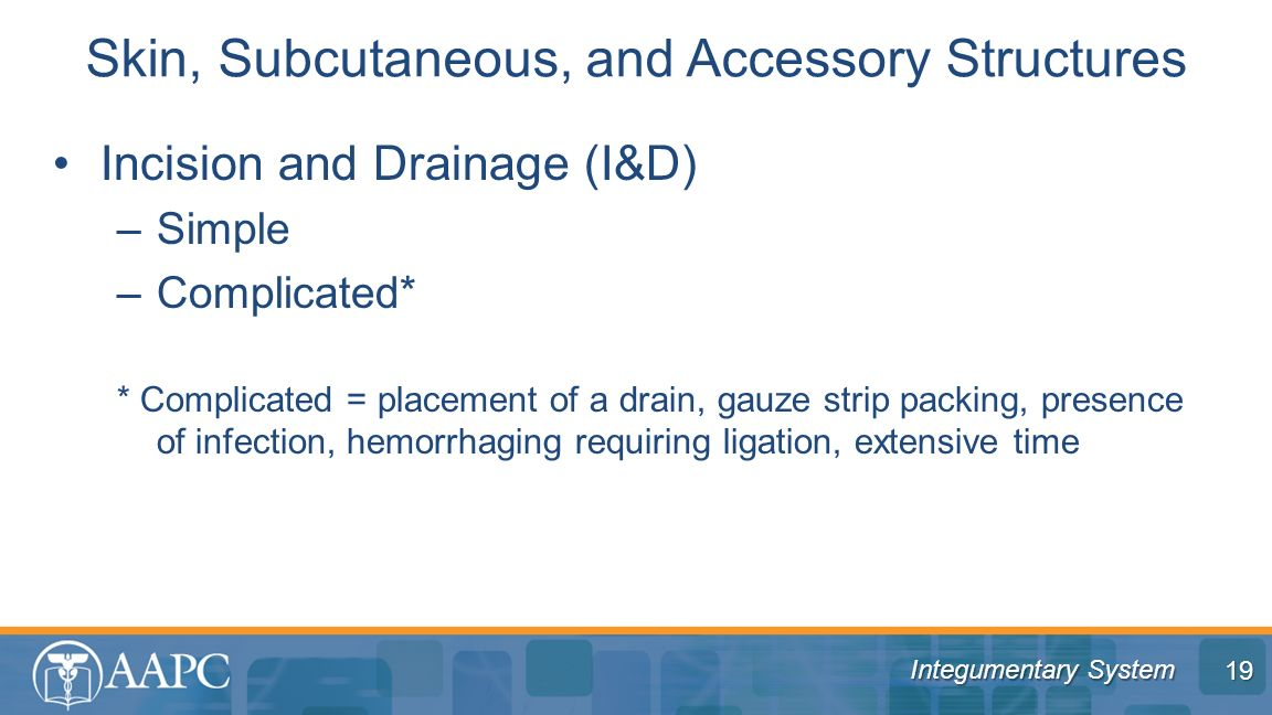 Integumentary System Incision and Drainage (I&D) –Simple –Complicated* * Complicated = placement of a drain, gauze strip packing, presence of infectio