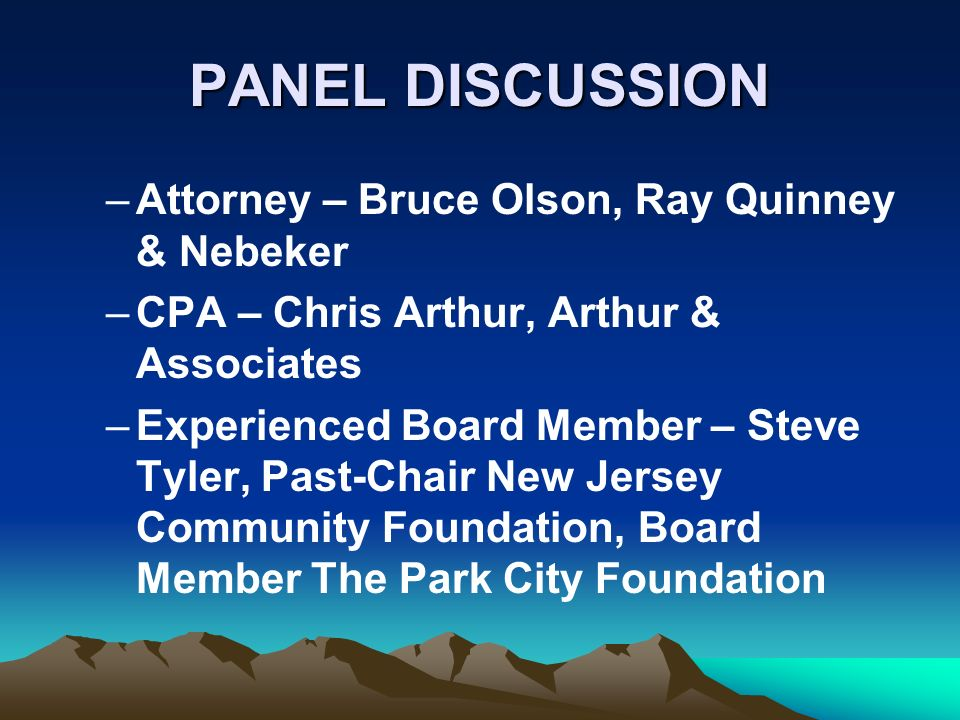 PANEL DISCUSSION –Attorney – Bruce Olson, Ray Quinney & Nebeker –CPA – Chris Arthur, Arthur & Associates –Experienced Board Member – Steve Tyler, Past-Chair New Jersey Community Foundation, Board Member The Park City Foundation