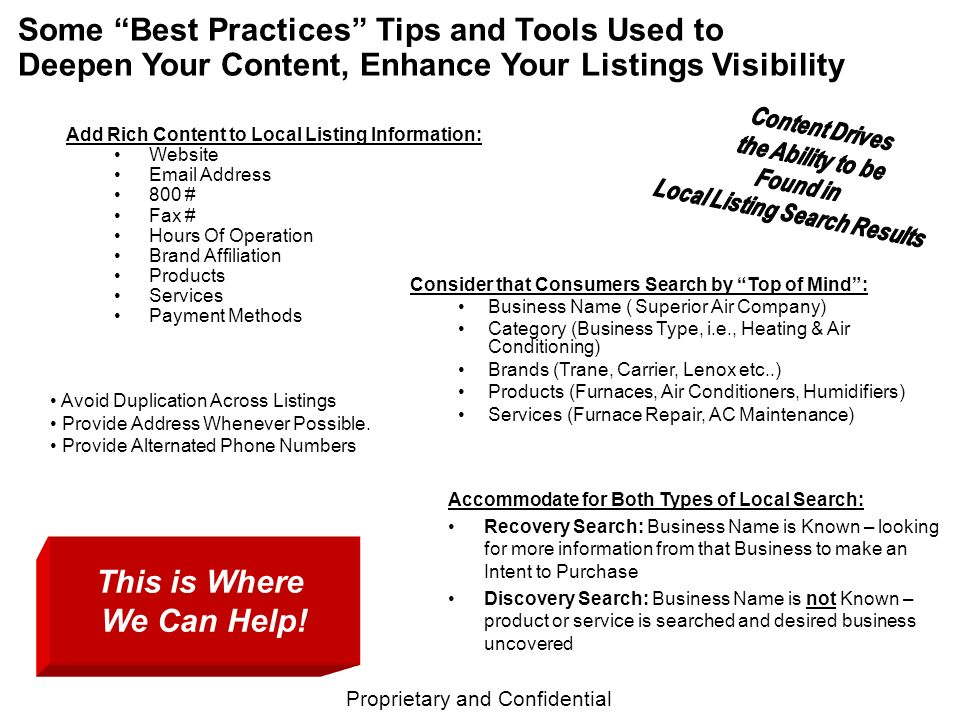 Proprietary and Confidential Some Best Practices Tips and Tools Used to Deepen Your Content, Enhance Your Listings Visibility Consider that Consumers