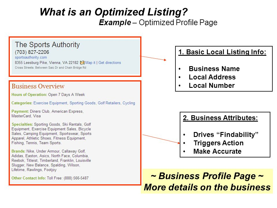 8 What is an Optimized Listing? Example – Optimized Profile Page ~ Business Profile Page ~ More details on the business 1. Basic Local Listing Info: B