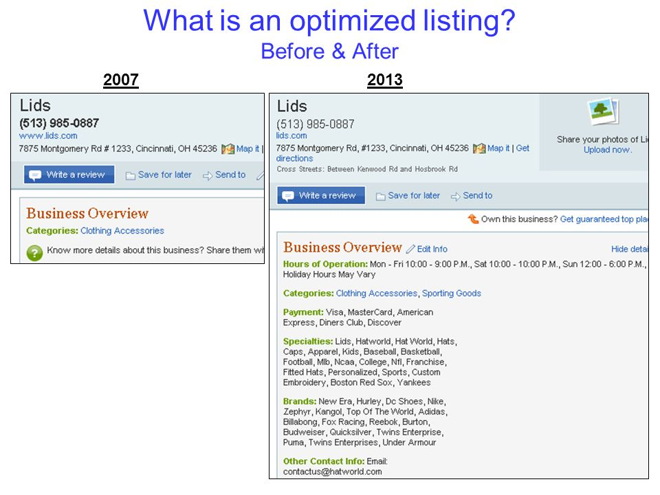What is an optimized listing? Before & After 20072013