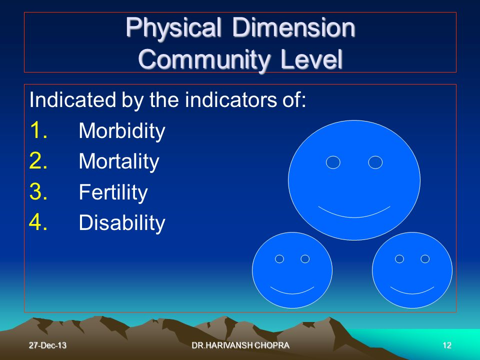 27-Dec-1312 Physical Dimension Community Level Indicated by the indicators of: 1. Morbidity 2. Mortality 3. Fertility 4. Disability DR.HARIVANSH CHOPR