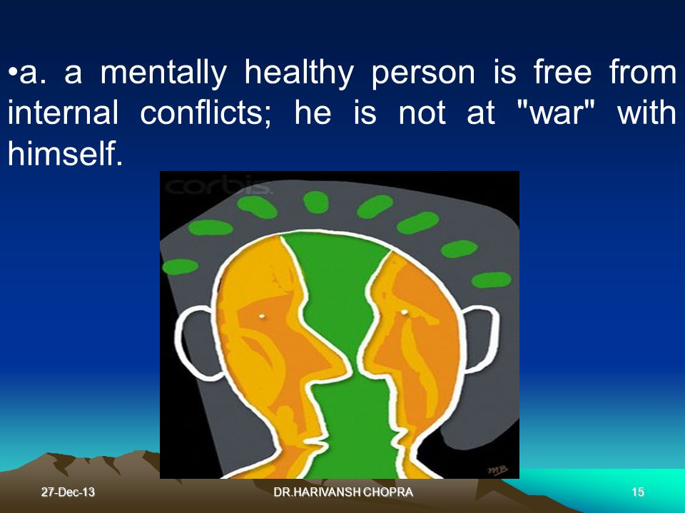 27-Dec-13DR.HARIVANSH CHOPRA15 a. a mentally healthy person is free from internal conflicts; he is not at