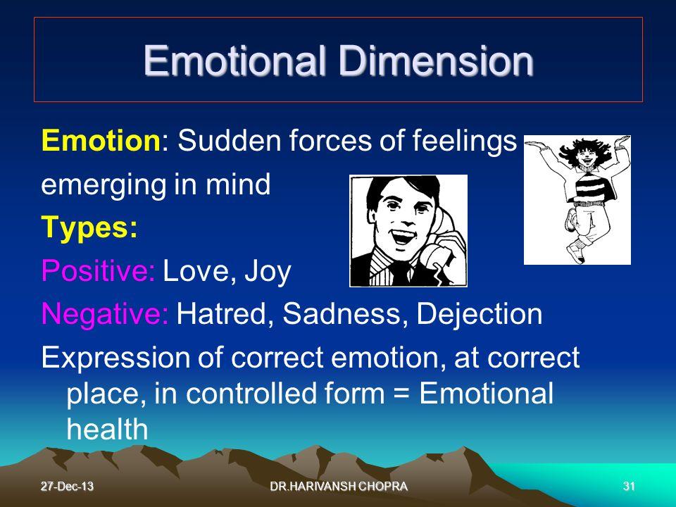27-Dec-1331 Emotional Dimension Emotion: Sudden forces of feelings emerging in mind Types: Positive: Love, Joy Negative: Hatred, Sadness, Dejection Ex