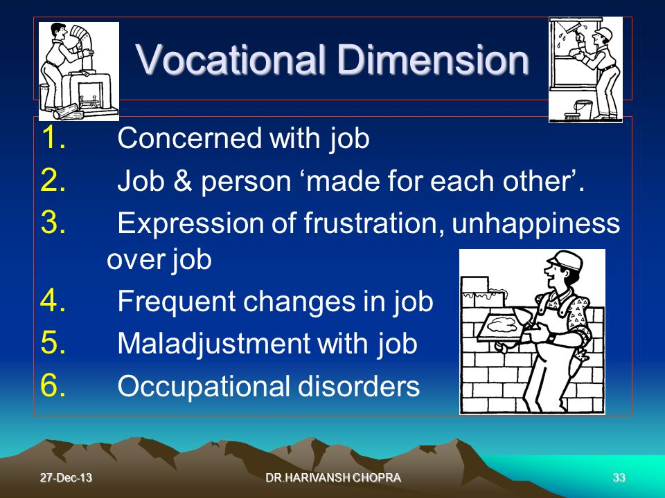 27-Dec-1333 Vocational Dimension 1. Concerned with job 2. Job & person made for each other. 3. Expression of frustration, unhappiness over job 4. Freq