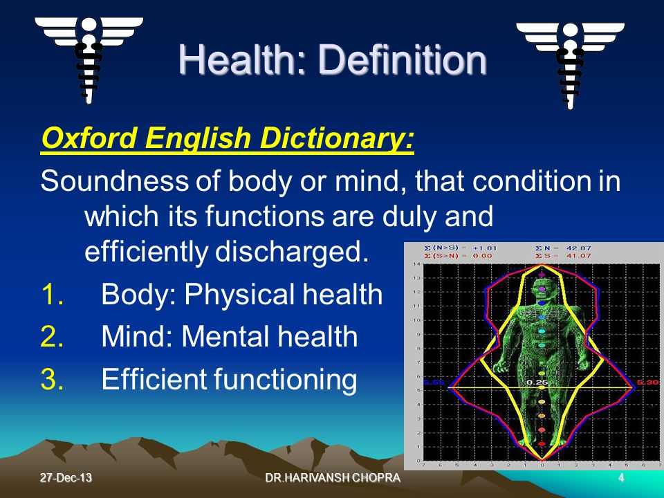 27-Dec-134 Health: Definition Oxford English Dictionary: Soundness of body or mind, that condition in which its functions are duly and efficiently dis