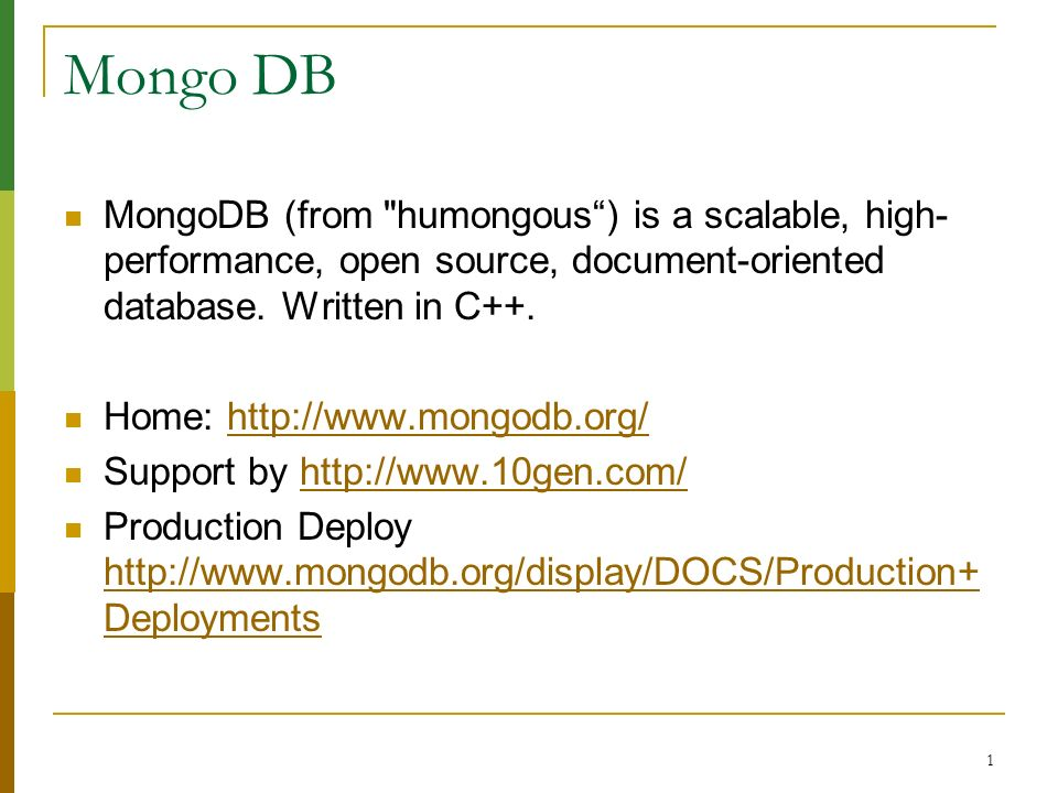 22 MongoDB Advanced Usage Index continue : explain() explain will return information about the indexes used for the query (if any) and stats about timing and the number of documents scanned.