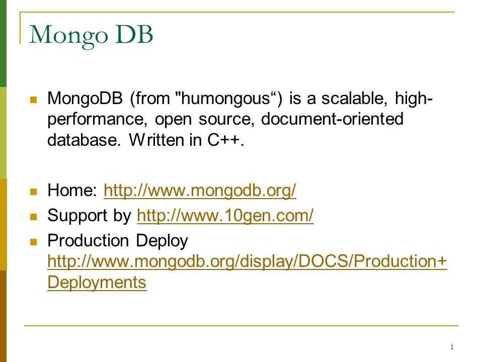 1 Mongo DB MongoDB (from