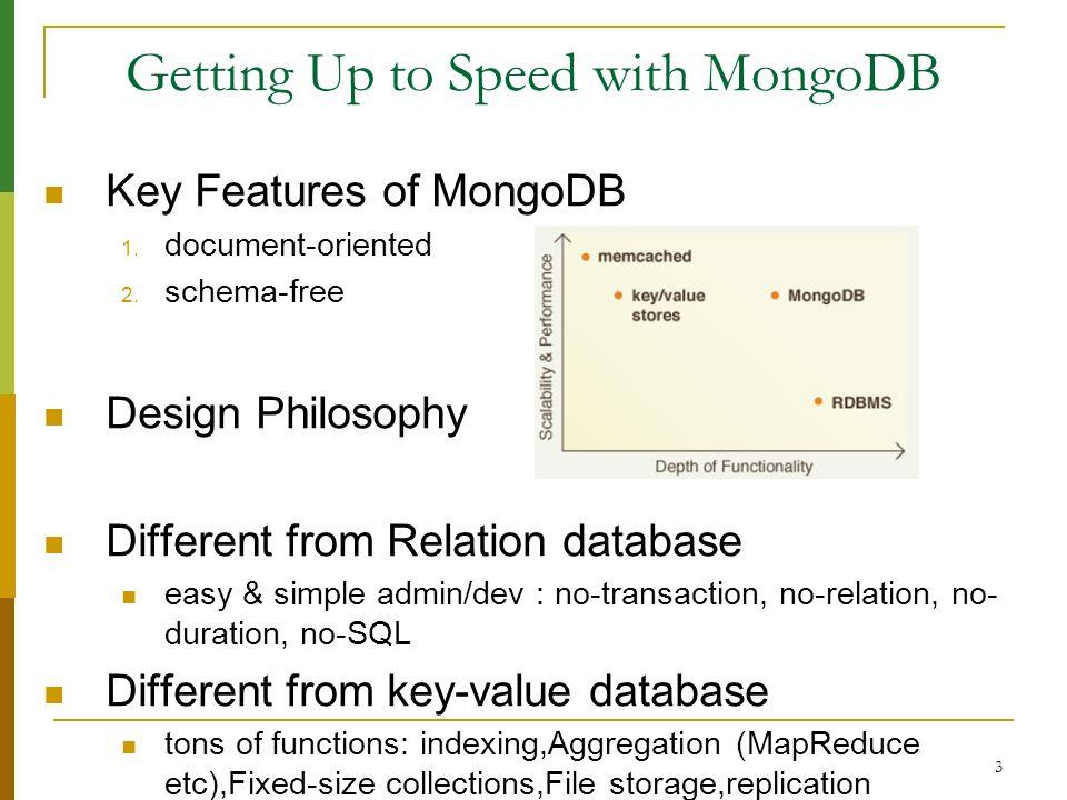 24 MongoDB Advanced Usage Advanced Usage Index Aggregation db.foo.count() db.foo.count({ x : 1}) db.runCommand({ distinct : people , key : age }) Group { day : 2010/10/03 , time : 10/3/2010 03:57:01 GMT-400 , price : 4.23} { day : 2010/10/04 , time : 10/4/2010 11:28:39 GMT-400 , price : 4.27} { day : 2010/10/03 , time : 10/3/2010 05:00:23 GMT-400 , price : 4.10} { day : 2010/10/06 , time : 10/6/2010 05:27:58 GMT-400 , price : 4.30} { day : 2010/10/04 , time : 10/4/2010 08:34:50 GMT-400 , price : 4.01} db.runCommand({ group : {...