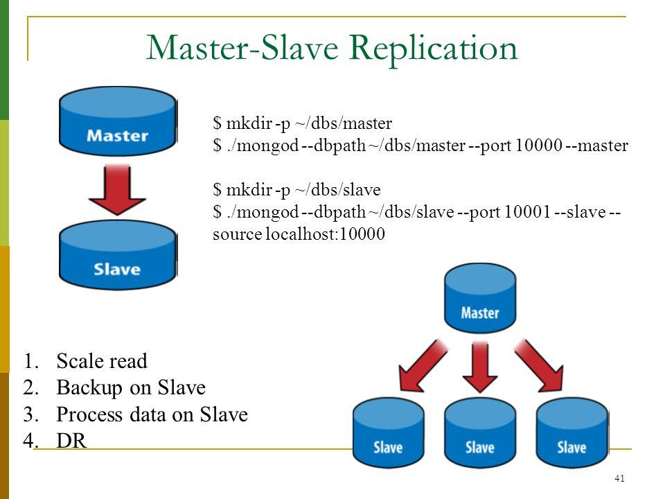 41 Master-Slave Replication $ mkdir -p ~/dbs/master $./mongod --dbpath ~/dbs/master --port 10000 --master $ mkdir -p ~/dbs/slave $./mongod --dbpath ~/