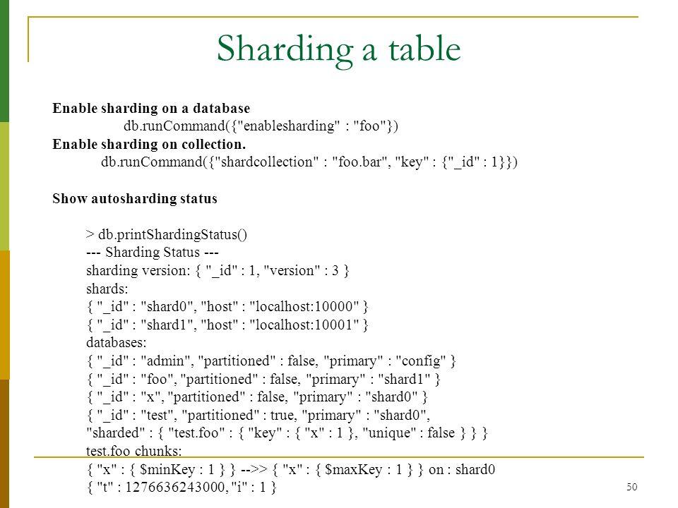 50 Sharding a table Enable sharding on a database db.runCommand({
