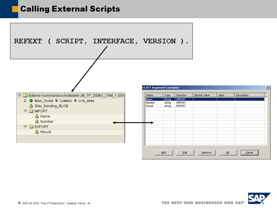 SAP AG 2005, Title of Presentation / Speaker Name / 104 Calling External Scripts REFEXT ( SCRIPT, INTERFACE, VERSION ).