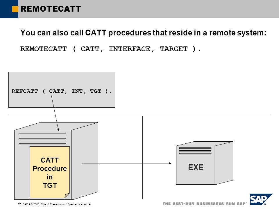 SAP AG 2005, Title of Presentation / Speaker Name / 111 REMOTECATT You can also call CATT procedures that reside in a remote system: REMOTECATT ( CATT