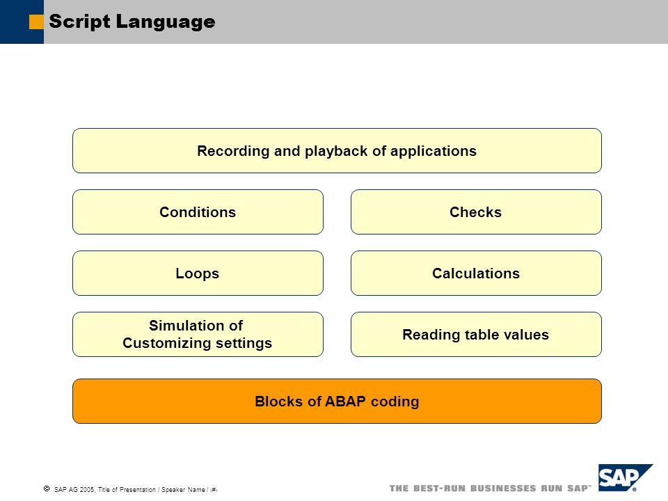 SAP AG 2005, Title of Presentation / Speaker Name / 37 Script Language Recording and playback of applications Conditions Loops Checks Calculations Rea