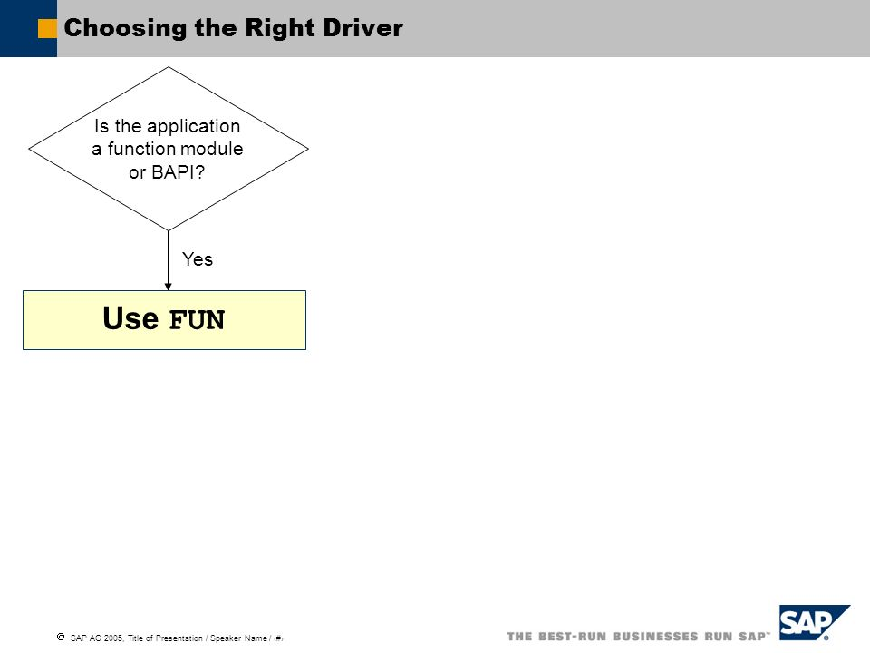 SAP AG 2005, Title of Presentation / Speaker Name / 46 Choosing the Right Driver Is the application a function module or BAPI? Yes Use FUN