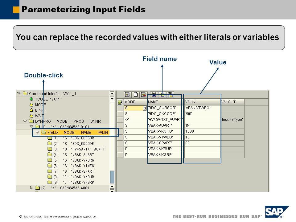 SAP AG 2005, Title of Presentation / Speaker Name / 63 Parameterizing Input Fields Double-click Field name Value You can replace the recorded values w