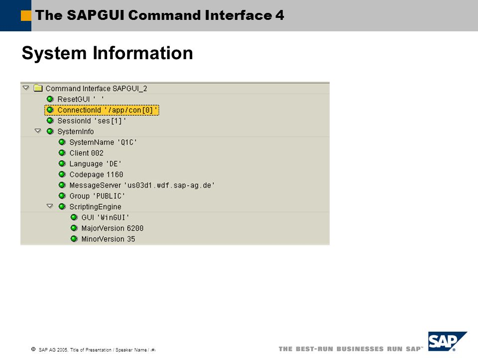 SAP AG 2005, Title of Presentation / Speaker Name / 91 The SAPGUI Command Interface 4 System Information
