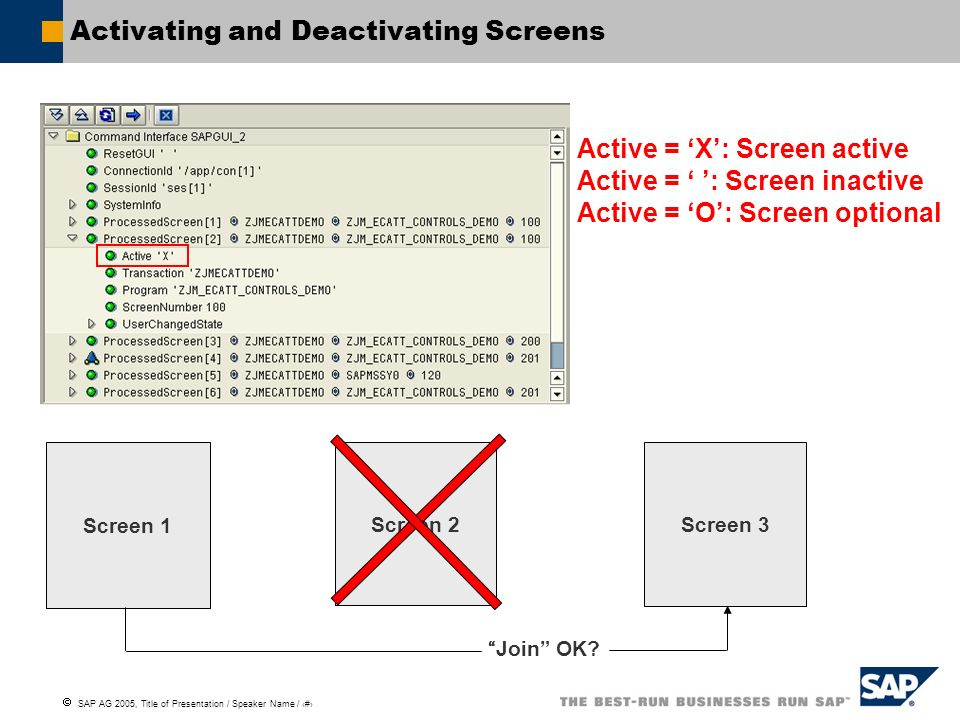 SAP AG 2005, Title of Presentation / Speaker Name / 92 Activating and Deactivating Screens Active = X: Screen active Active = : Screen inactive Active