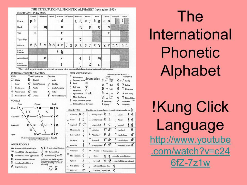 The International Phonetic Alphabet !Kung Click Language http://www.youtube.com/watch?v=c24 6fZ-7z1w http://www.youtube.com/watch?v=c24 6fZ-7z1w