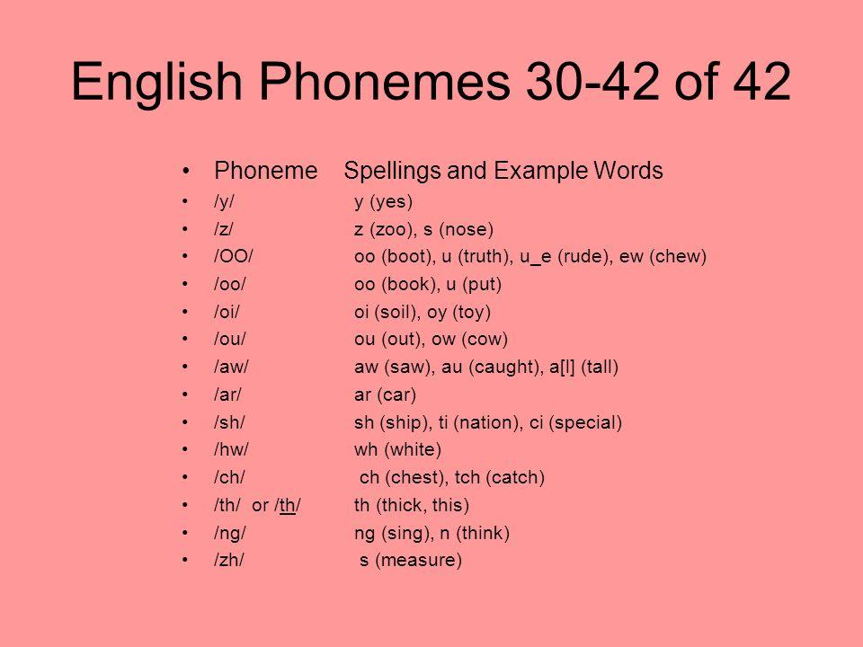 English Phonemes 30-42 of 42 Phoneme Spellings and Example Words /y/y (yes) /z/z (zoo), s (nose) /OO/oo (boot), u (truth), u_e (rude), ew (chew) /oo/o