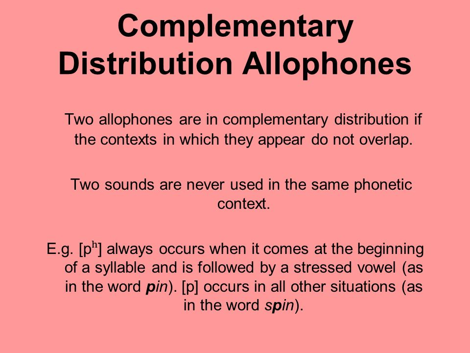 Kinds of Phonetic Context Some Examples Immediate context = the sounds which immediately precede and follow the allophone The stress of the sounds that follow or precede the allophone - Whether the allophone begins or ends a word When the allophone begins a word, the sound with which the word preceding the allophone ends When the allophone ends a word, the sound with which the word following the allophone begins