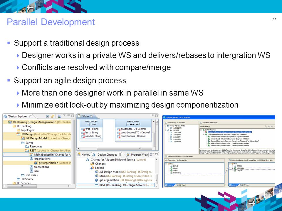 11 Parallel Development Support a traditional design process Designer works in a private WS and delivers/rebases to intergration WS Conflicts are resolved with compare/merge Support an agile design process More than one designer work in parallel in same WS Minimize edit lock-out by maximizing design componentization