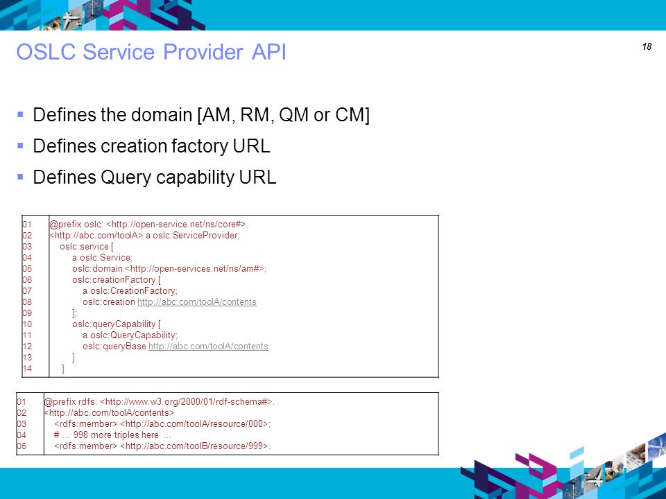 18 OSLC Service Provider API Defines the domain [AM, RM, QM or CM] Defines creation factory URL Defines Query capability URL 01 02 03 04 05 06 07 08 09 10 11 12 13 14 @prefix oslc:.