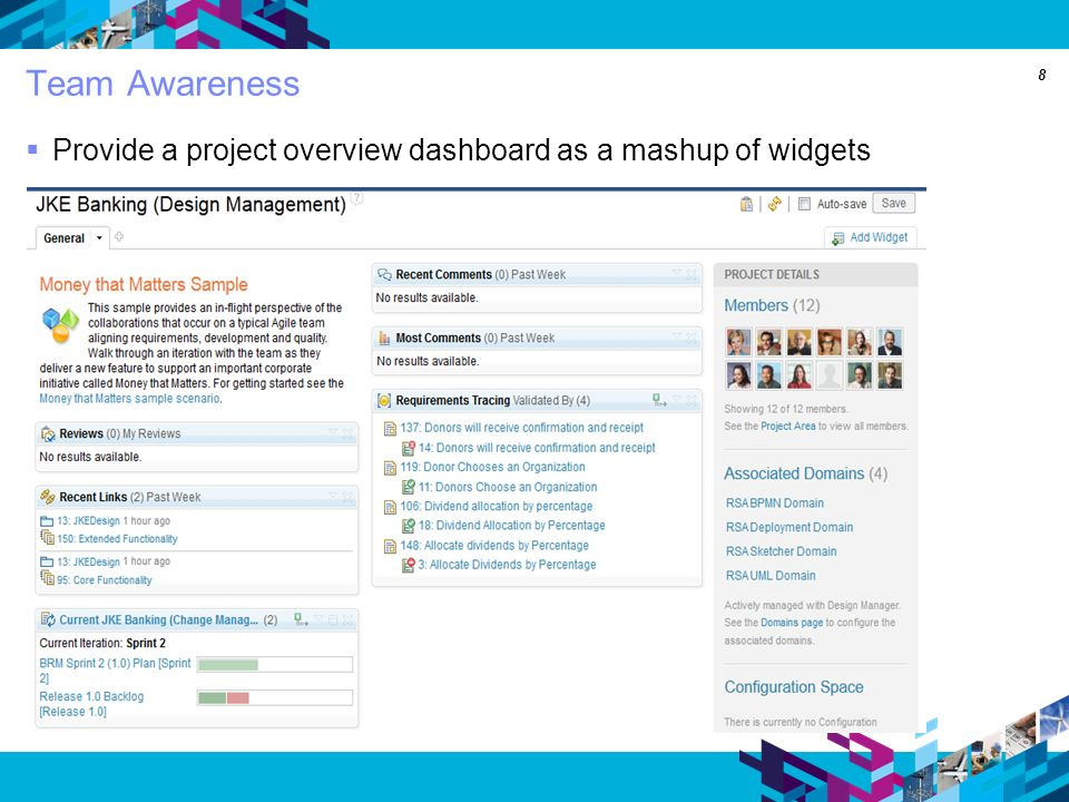8 Team Awareness Provide a project overview dashboard as a mashup of widgets
