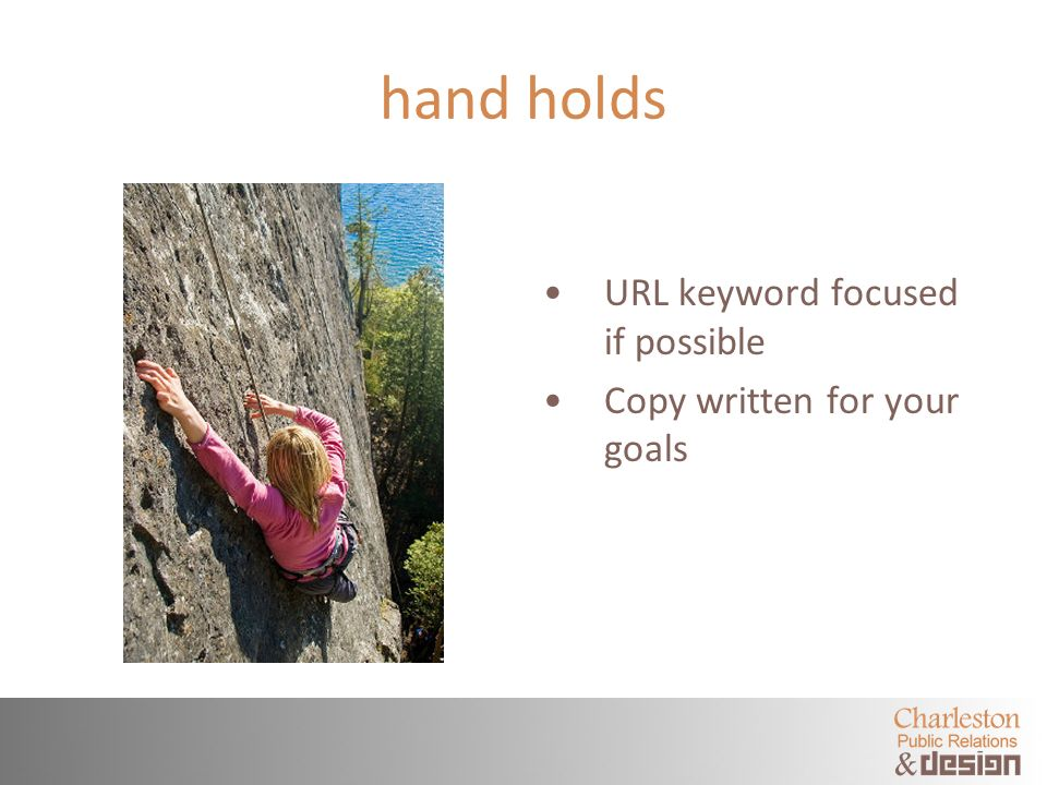hand holds URL keyword focused if possible Copy written for your goals