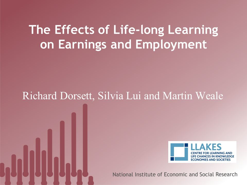 Earnings Life-long Learning QualNeverNot in last yearIn last year MenWomenMenWomenMenWomen 0£8.17£6.47£9.49£6.78£9.56£6.55 1£9.82£7.94£10.48£8.09£10.33£7.87 2£10.14£7.72£10.17£7.76£9.72£7.63 3£12.27£9.72£11.78£8.90£11.66£8.17 4£15.79£13.17£15.15£13.04£13.52£11.94