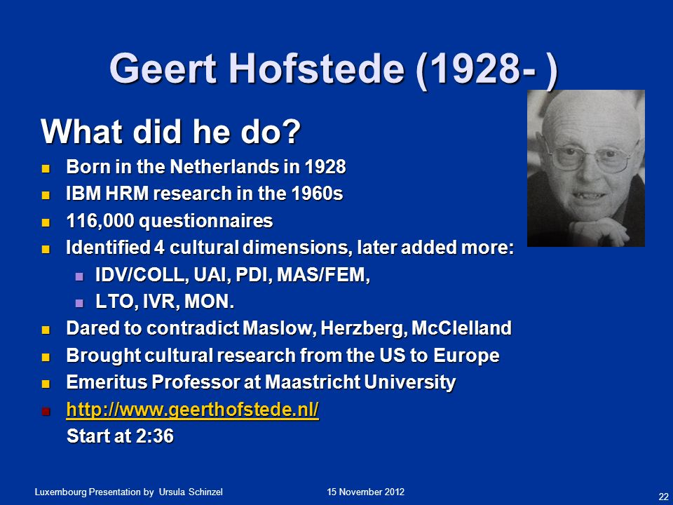 15 November 2012Luxembourg Presentation by Ursula Schinzel What did he do? Born in the Netherlands in 1928 Born in the Netherlands in 1928 IBM HRM res