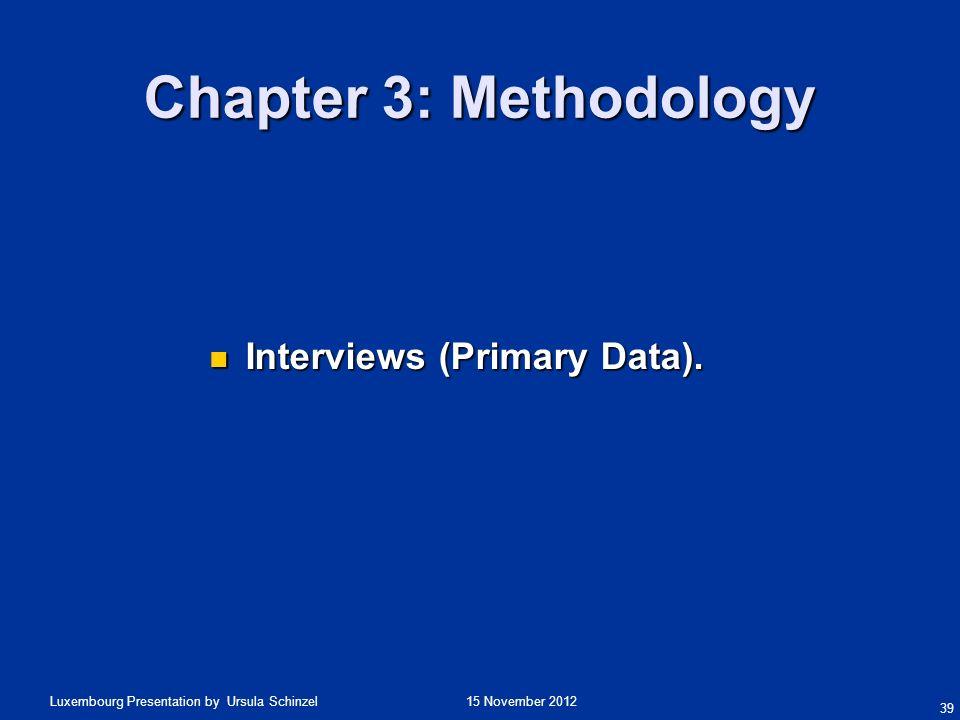 15 November 2012Luxembourg Presentation by Ursula Schinzel Chapter 3: Methodology Interviews (Primary Data). Interviews (Primary Data). 39