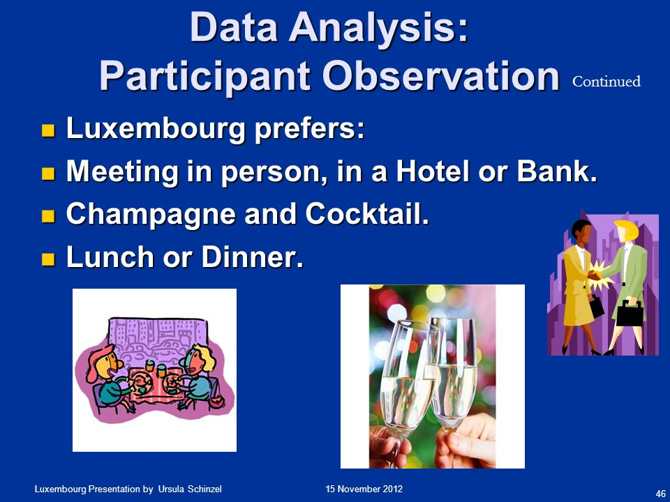 15 November 2012Luxembourg Presentation by Ursula Schinzel Data Analysis: Participant Observation 46 Luxembourg prefers: Luxembourg prefers: Meeting i